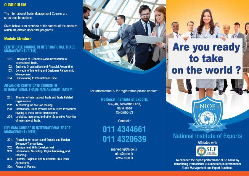 Brochure National Institute Of Exports Nioe